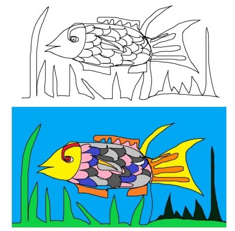 Fisch im Einlinienzug